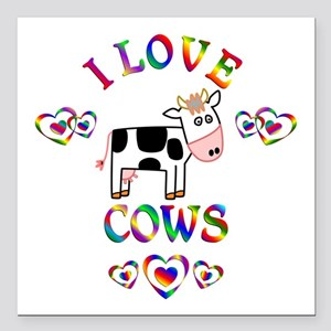 "I Love Cows Square Car Magnet 3"" x 3"""