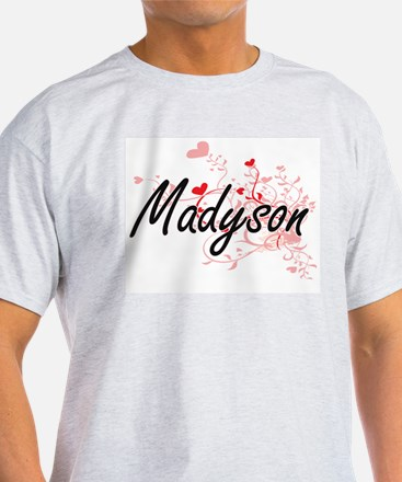 Madyson Artistic Name Design with Hearts T-Shirt