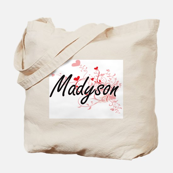 Madyson Artistic Name Design with Hearts Tote Bag