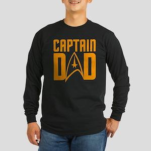 Captain Dad Long Sleeve Dark T-Shirt