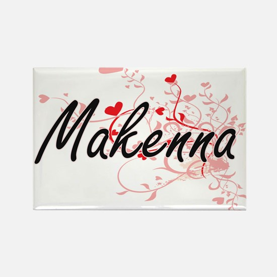 Makenna Artistic Name Design with Hearts Magnets