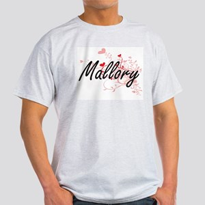 Mallory Artistic Name Design with Hearts T-Shirt