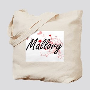 Mallory Artistic Name Design with Hearts Tote Bag