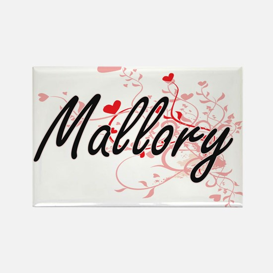 Mallory Artistic Name Design with Hearts Magnets