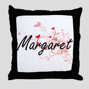 Margaret Artistic Name Design with He Throw Pillow