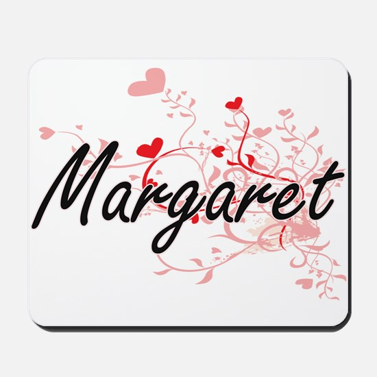 Margaret Artistic Name Design with Heart Mousepad