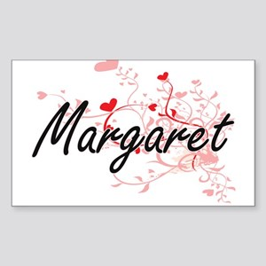 Margaret Artistic Name Design with Hearts Sticker