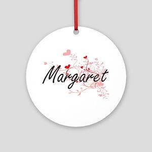 Margaret Artistic Name Design wit Ornament (Round)