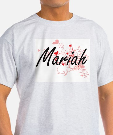 Mariah Artistic Name Design with Hearts T-Shirt