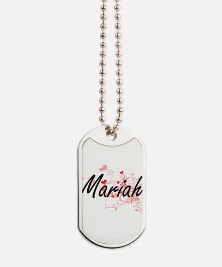 Mariah Artistic Name Design with Hearts Dog Tags