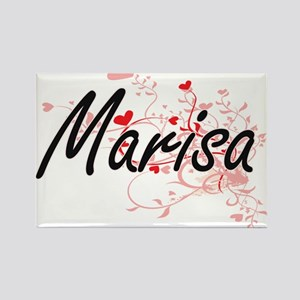 Marisa Artistic Name Design with Hearts Magnets