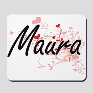 Maura Artistic Name Design with Hearts Mousepad