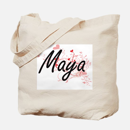 Maya Artistic Name Design with Hearts Tote Bag