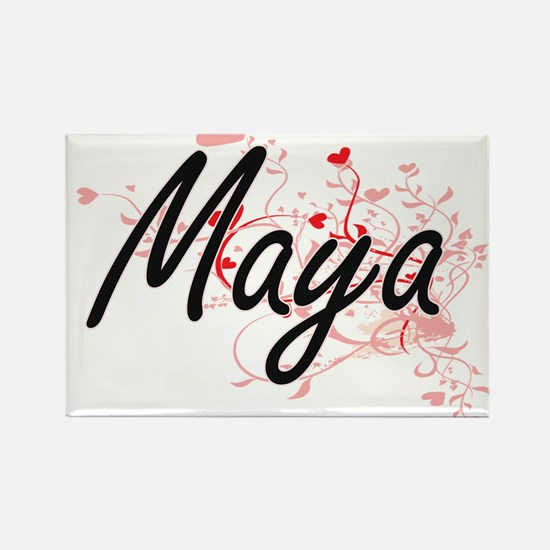 Maya Artistic Name Design with Hearts Magnets