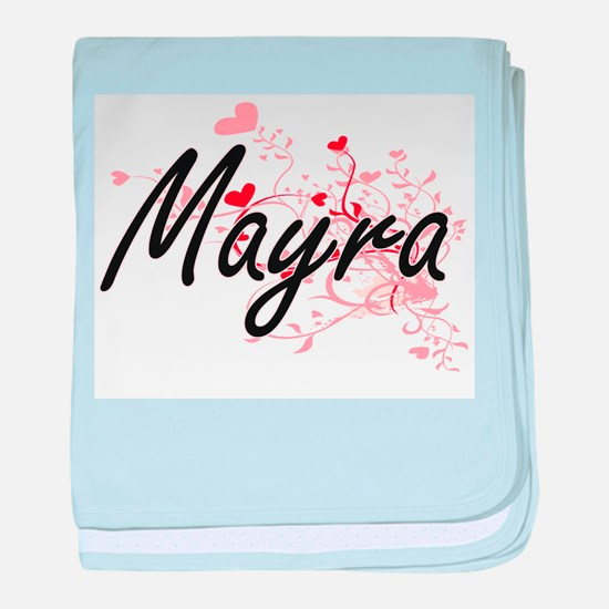 Mayra Artistic Name Design with Heart baby blanket