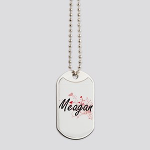 Meagan Artistic Name Design with Hearts Dog Tags
