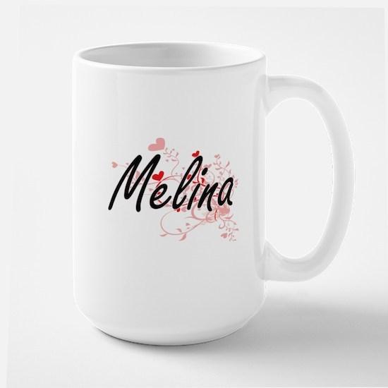 Melina Artistic Name Design with Hearts Mugs