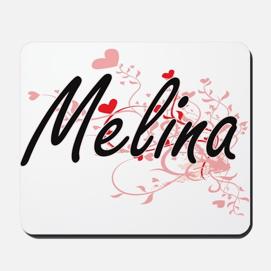 Melina Artistic Name Design with Hearts Mousepad