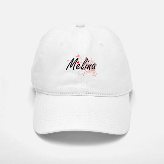 Melina Artistic Name Design with Hearts Baseball Baseball Cap
