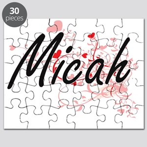 Micah Artistic Name Design with Hearts Puzzle