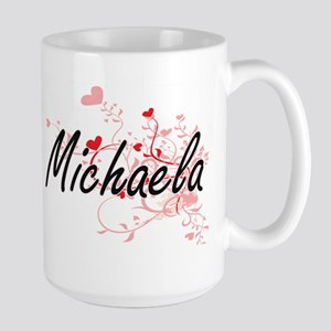 Michaela Artistic Name Design with Hearts Mugs