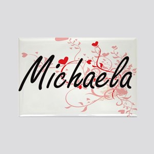 Michaela Artistic Name Design with Hearts Magnets