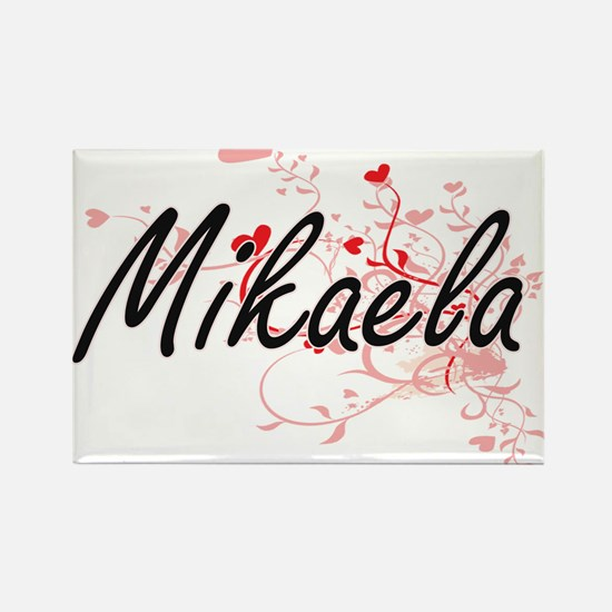Mikaela Artistic Name Design with Hearts Magnets