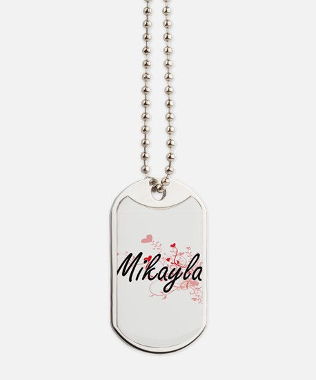 Mikayla Artistic Name Design with Hearts Dog Tags