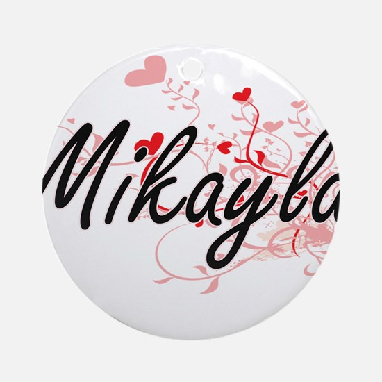 Mikayla Artistic Name Design with Ornament (Round)