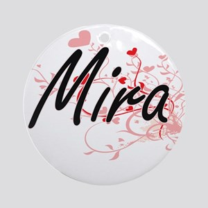 Mira Artistic Name Design with He Ornament (Round)