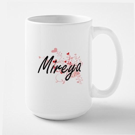 Mireya Artistic Name Design with Hearts Mugs