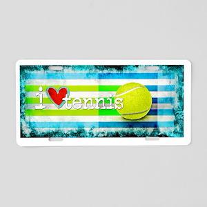 i love vintage tennis Aluminum License Plate