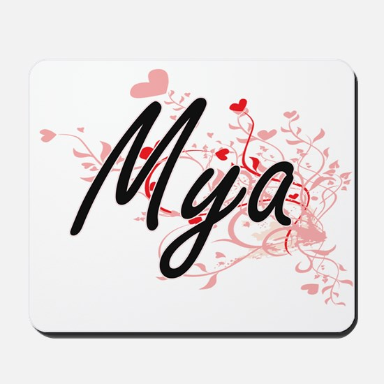 Mya Artistic Name Design with Hearts Mousepad