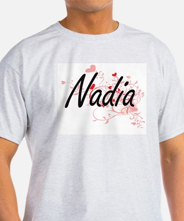 Nadia Artistic Name Design with Hearts T-Shirt