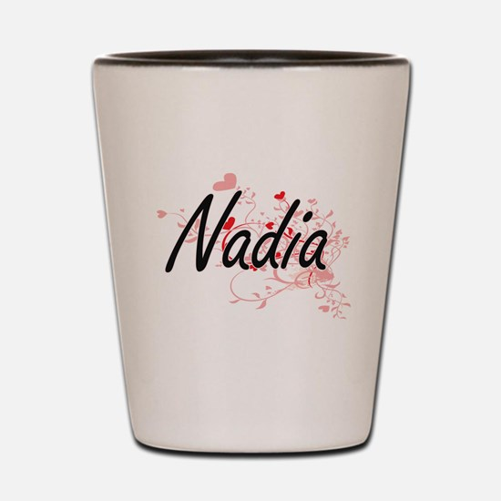 Nadia Artistic Name Design with Hearts Shot Glass