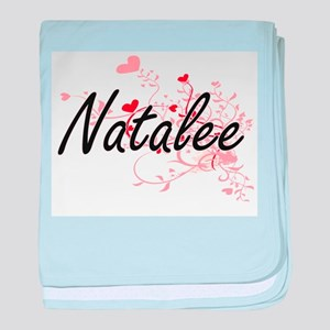 Natalee Artistic Name Design with Hea baby blanket