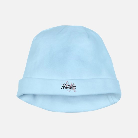 Natalia Artistic Name Design with Hearts baby hat