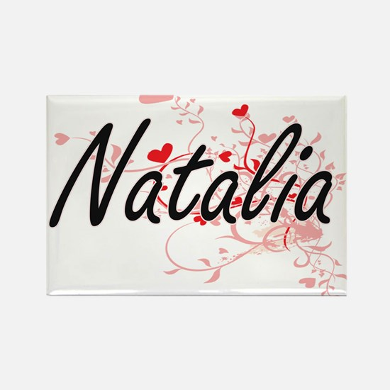Natalia Artistic Name Design with Hearts Magnets