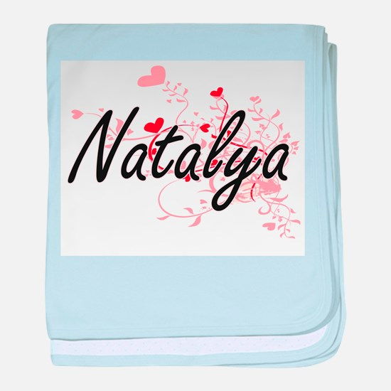 Natalya Artistic Name Design with Hea baby blanket