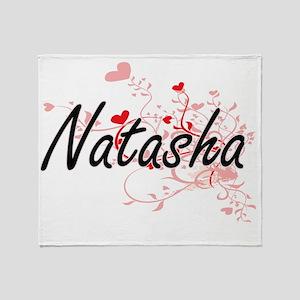 Natasha Artistic Name Design with He Throw Blanket