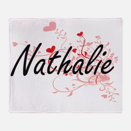 Nathalie Artistic Name Design with H Throw Blanket