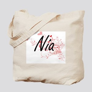 Nia Artistic Name Design with Hearts Tote Bag