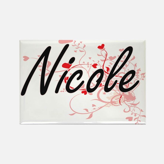 Nicole Artistic Name Design with Hearts Magnets