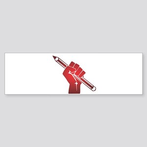 Pencil in a Raised Fist Bumper Sticker