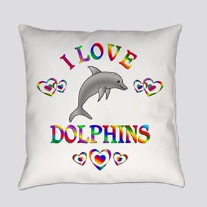 I Love Dolphins Everyday Pillow