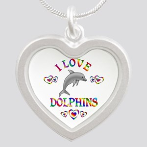 I Love Dolphins Silver Heart Necklace