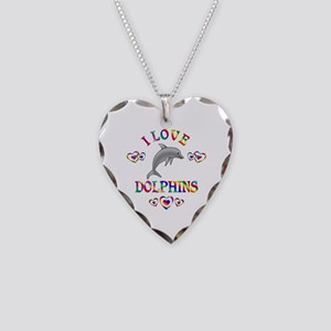 I Love Dolphins Necklace Heart Charm