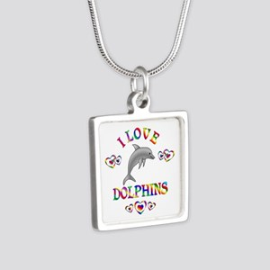 I Love Dolphins Silver Square Necklace