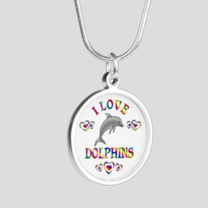 I Love Dolphins Silver Round Necklace