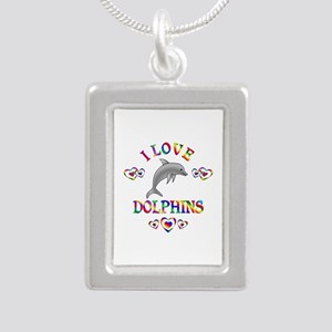 I Love Dolphins Silver Portrait Necklace